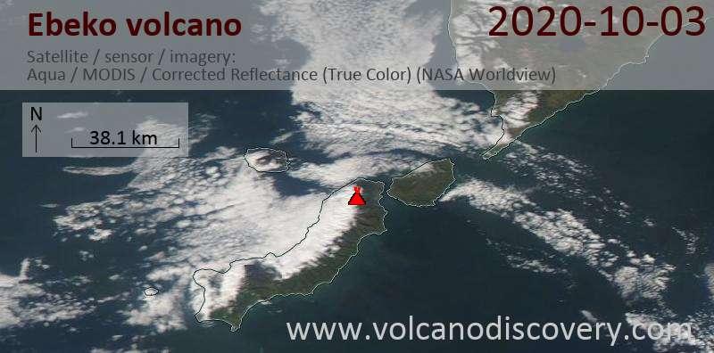 Satellite image of Ebeko volcano on  3 Oct 2020