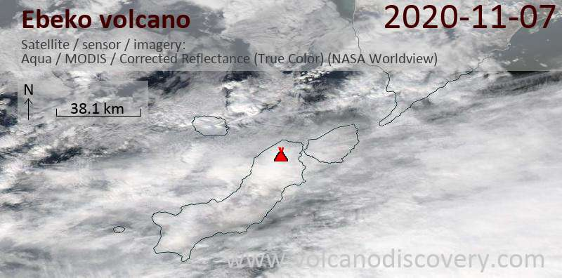 Satellite image of Ebeko volcano on  7 Nov 2020