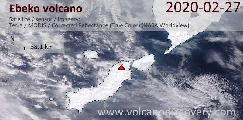 Спутниковое изображение вулкана Ebeko 27 Feb 2020