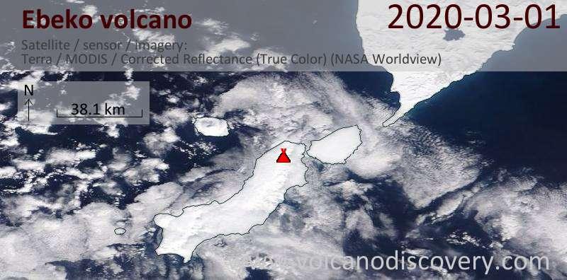 Спутниковое изображение вулкана Ebeko  1 Mar 2020