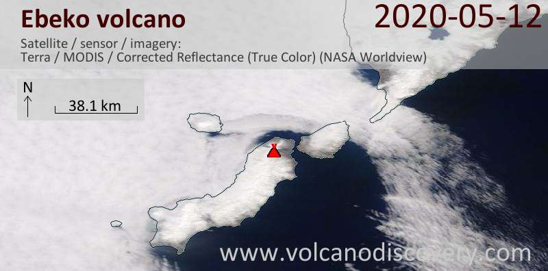 Satellite image of Ebeko volcano on 12 May 2020