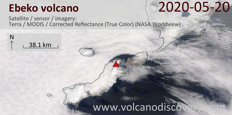 Satellite image of Ebeko volcano on 20 May 2020