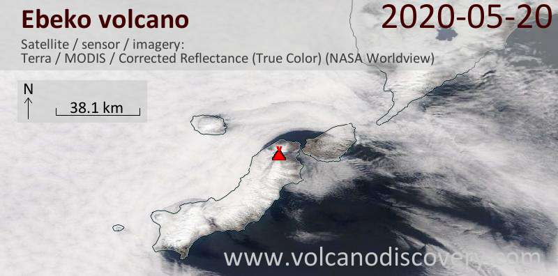 Satellite image of Ebeko volcano on 20 May 2020
