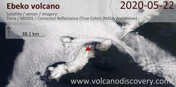 Satellite image of Ebeko volcano on 22 May 2020