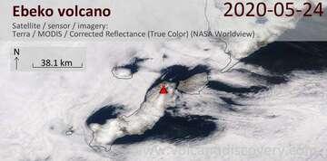 Satellite image of Ebeko volcano on 24 May 2020
