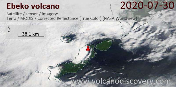 Satellite image of Ebeko volcano on 30 Jul 2020