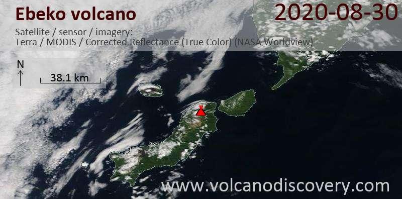 Satellite image of Ebeko volcano on 30 Aug 2020