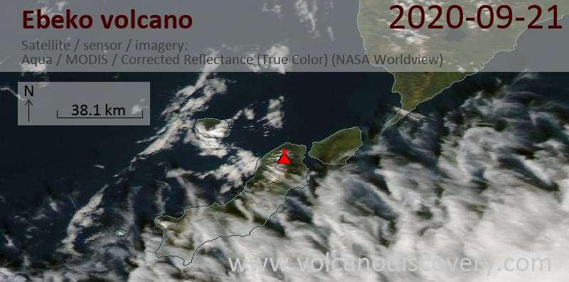 Satellite image of Ebeko volcano on 21 Sep 2020