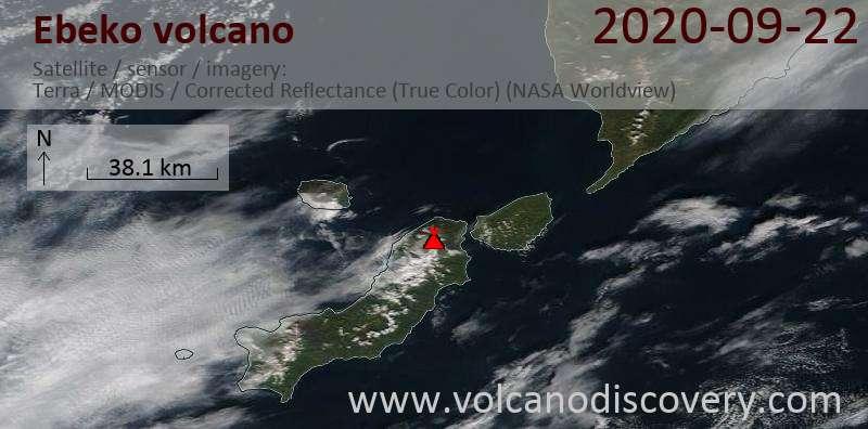 Satellite image of Ebeko volcano on 22 Sep 2020