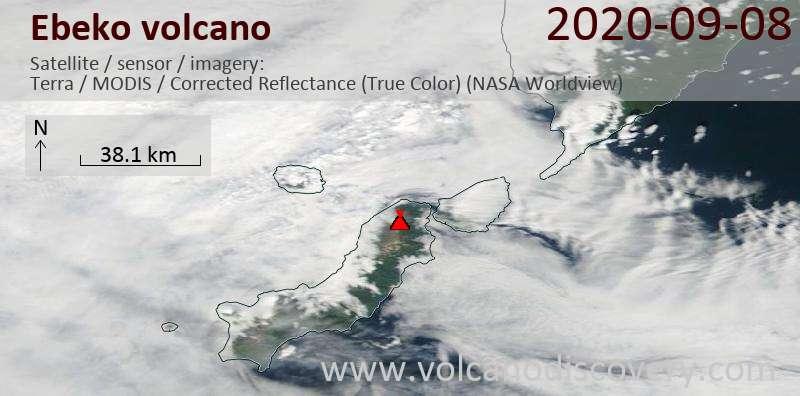 Satellite image of Ebeko volcano on  8 Sep 2020