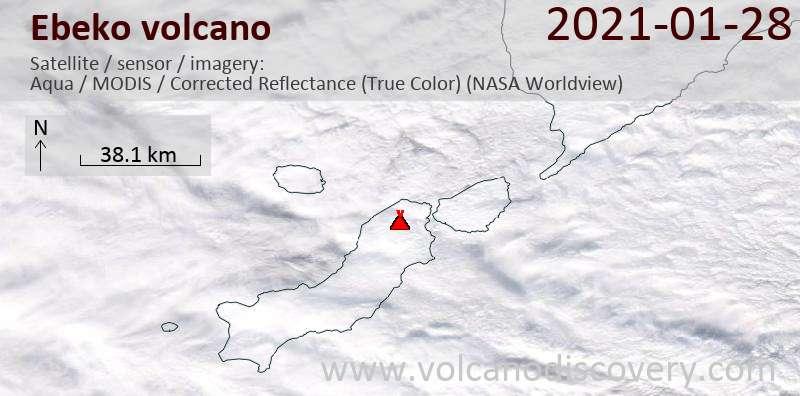 Спутниковое изображение вулкана Ebeko 29 Jan 2021