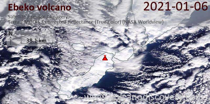 Satellite image of Ebeko volcano on  6 Jan 2021
