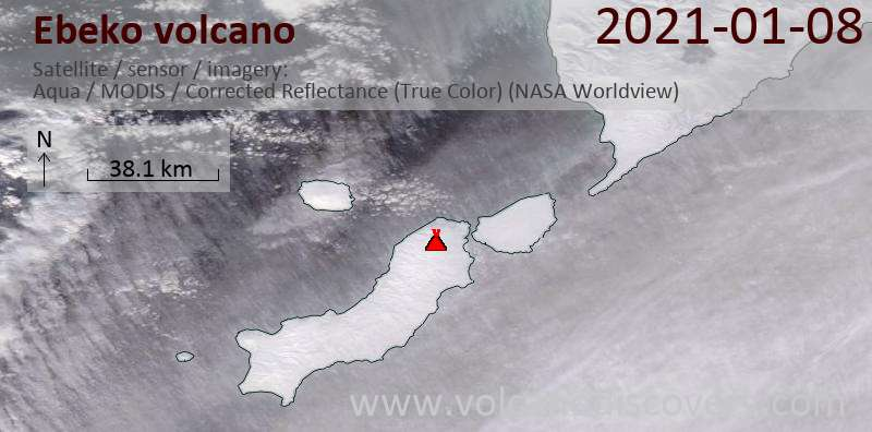 Satellite image of Ebeko volcano on  8 Jan 2021