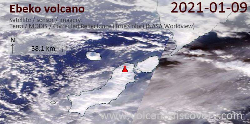 Satellite image of Ebeko volcano on  9 Jan 2021