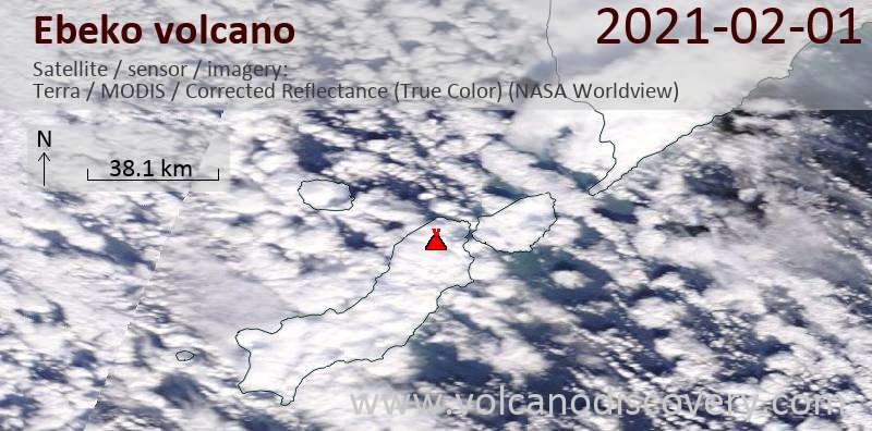 Спутниковое изображение вулкана Ebeko  1 Feb 2021