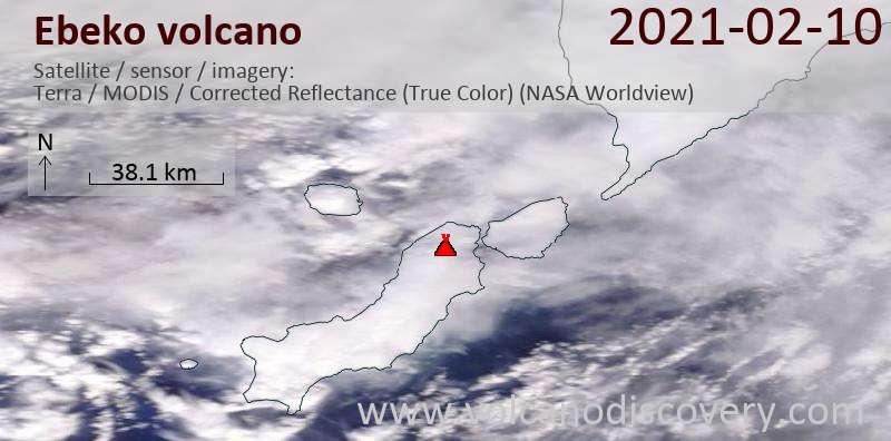 Satellite image of Ebeko volcano on 10 Feb 2021