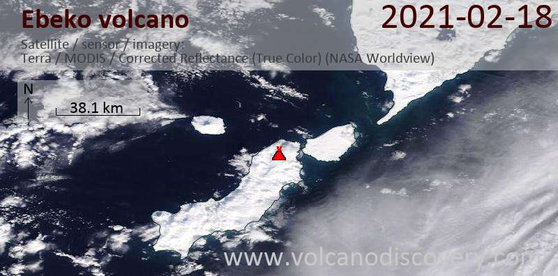 Satellite image of Ebeko volcano on 18 Feb 2021