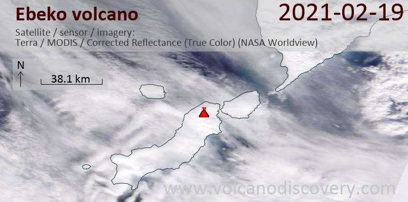 Satellite image of Ebeko volcano on 19 Feb 2021