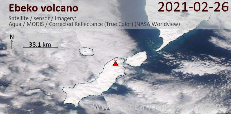Satellite image of Ebeko volcano on 26 Feb 2021