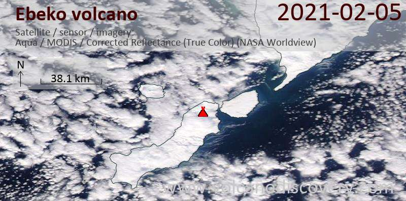 Satellite image of Ebeko volcano on  6 Feb 2021