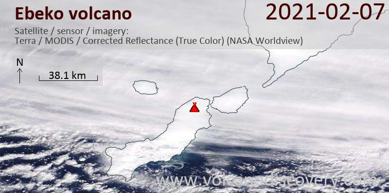 Satellite image of Ebeko volcano on  8 Feb 2021