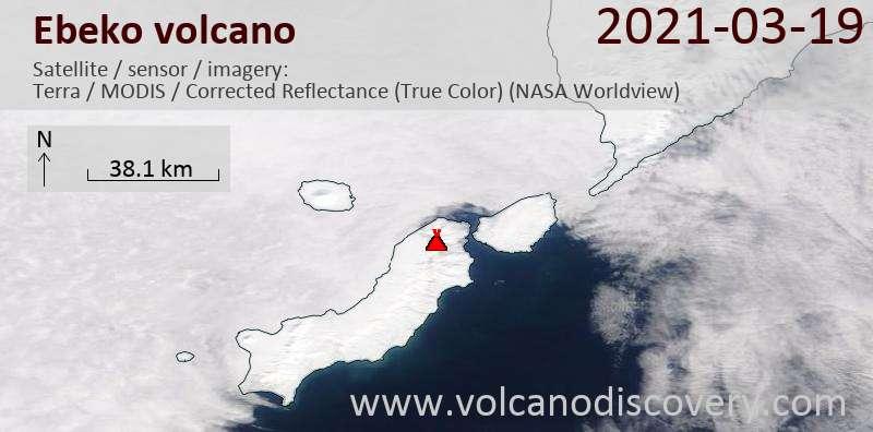 Satellite image of Ebeko volcano on 19 Mar 2021