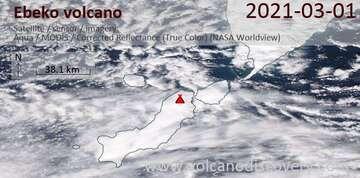 Satellite image of Ebeko volcano on  1 Mar 2021