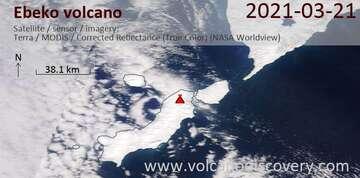 Imagen satelital del volcán Ebeko el 21 de marzo de 2021