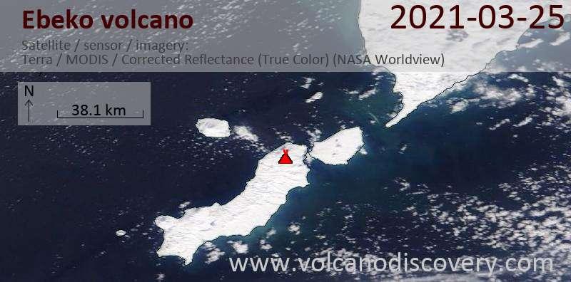 Satellite image of Ebeko volcano on 25 Mar 2021