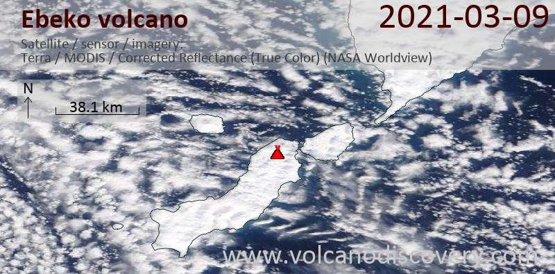 Satellite image of Ebeko volcano on  9 Mar 2021