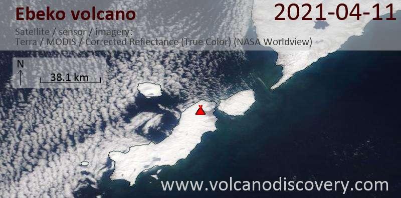 Satellite image of Ebeko volcano on 11 Apr 2021