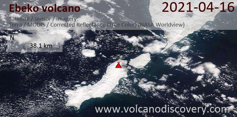 Satellite image of Ebeko volcano on 16 Apr 2021