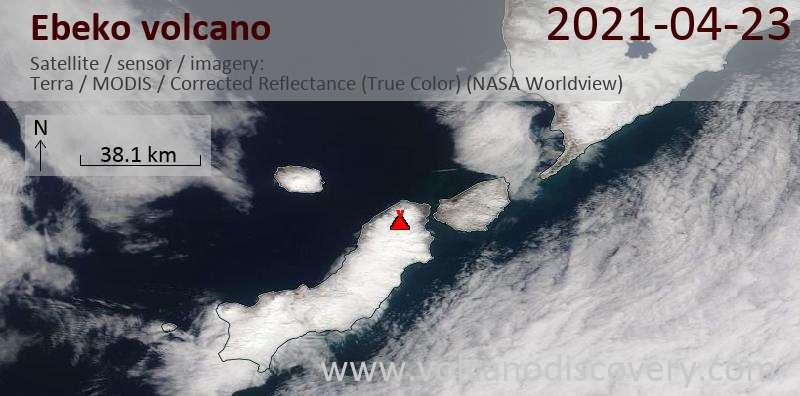 Спутниковое изображение вулкана Ebeko 23 Apr 2021