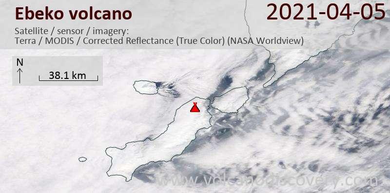 Satellite image of Ebeko volcano on  5 Apr 2021