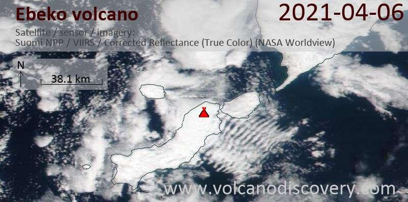 Satellite image of Ebeko volcano on  6 Apr 2021