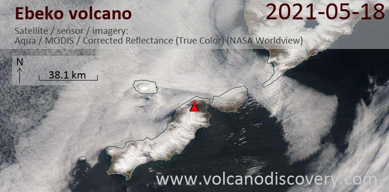 Спутниковое изображение вулкана Ebeko 18 May 2021