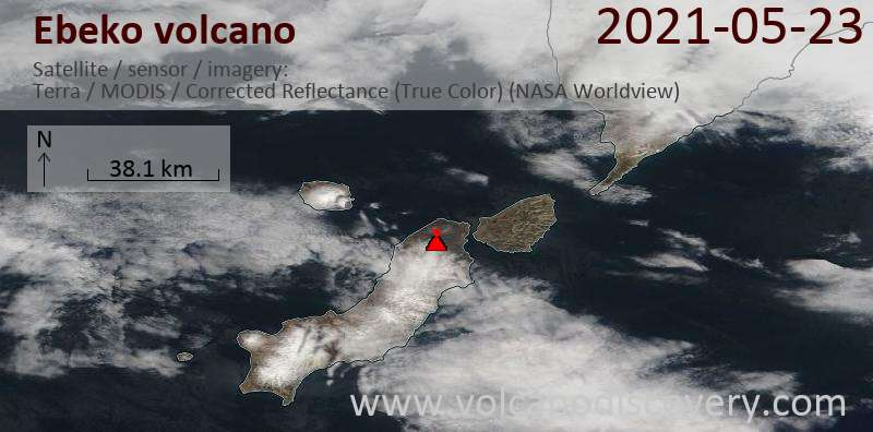 Satellite image of Ebeko volcano on 23 May 2021