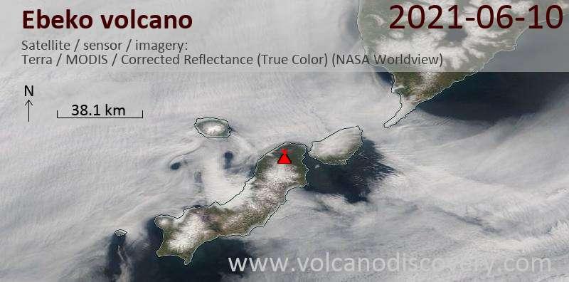 Satellite image of Ebeko volcano on 11 Jun 2021