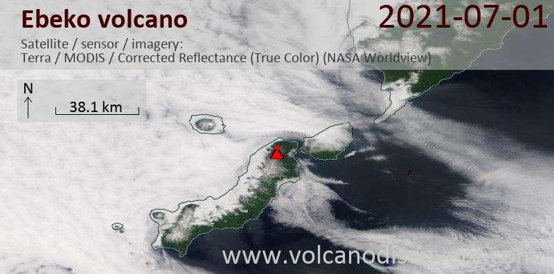 Satellite image of Ebeko volcano on  1 Jul 2021