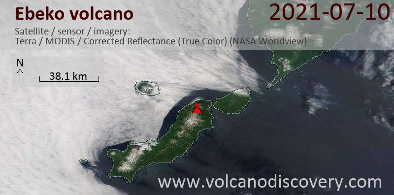 Satellite image of Ebeko volcano on 10 Jul 2021