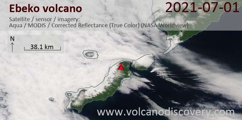 Satellite image of Ebeko volcano on  2 Jul 2021