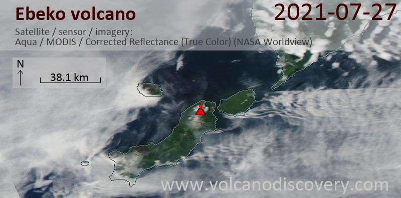 Satellite image of Ebeko volcano on 28 Jul 2021