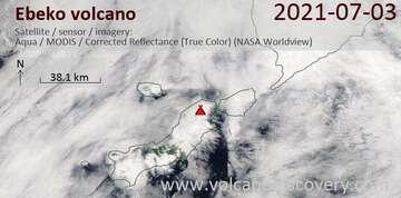 Satellite image of Ebeko volcano on  4 Jul 2021