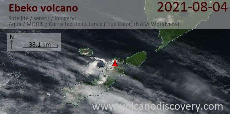 Satellite image of Ebeko volcano on  4 Aug 2021