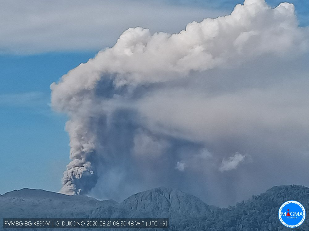 Large amount of ash content from Dukono volcano (image: PVMBG)