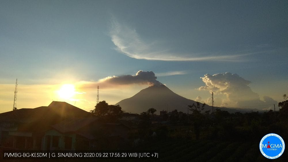Ash emissions from Sinabung volcano yesterday (image: PVMBG)