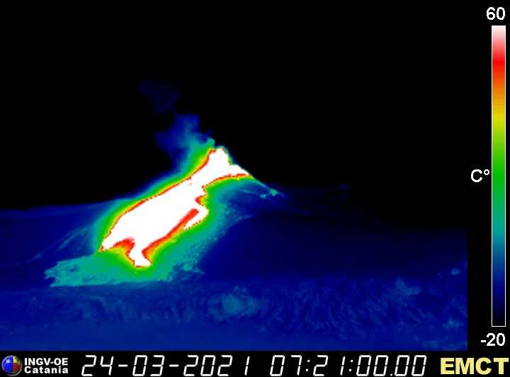 Thermal view of the main lava flow (image: INGV thermal webcam)