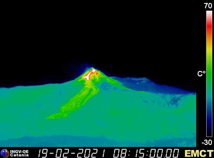 Thermal view of the New SE crater showing the lava flows starting to descend from the cone (image: INGV Catania thermal webcam)