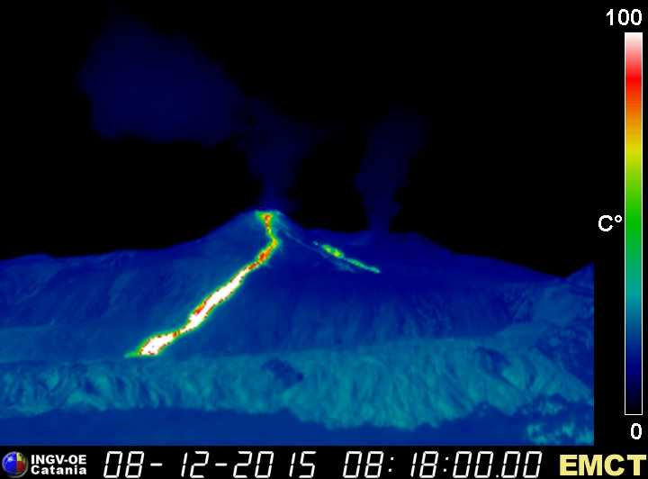 Lava flow from Etna's New SE crater this morning