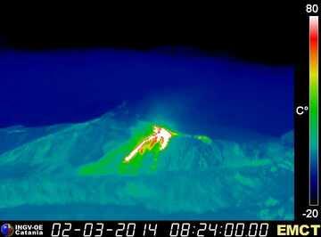 Lava flows at Enta this morning (Monte Cagliato thermal webcam, INGV Catania)